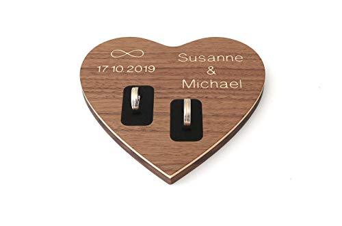 Ringkissen Herz personalisiert mit Namen und Datum aus Holz Hochzeit, Ringschale, Ringbrett aus Holz mit Gravur in Herzform
