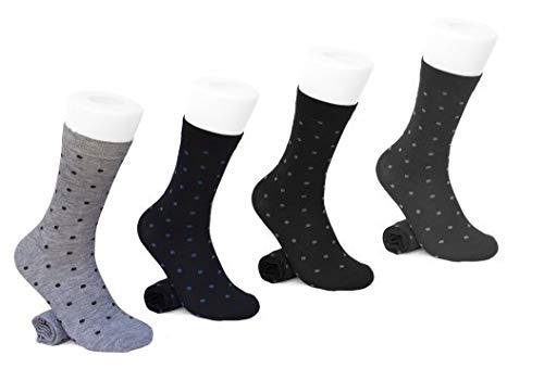 BFL 4 Paar Kurzsocken (halber Bein) Herren Sling aus feiner, leichter Baumwolle, Schottengarn bedruckt mit Punkten