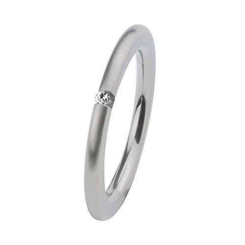 Ernstes Design Vorsteckring, Beisteckring, ED vita Ring,m. Zirkonia, schmaler Ring aus Edelstahl 2 mm R268 (54 (17.2))