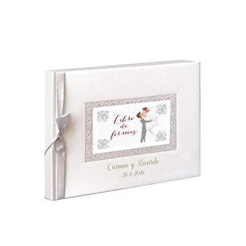 Libro de firmas novios, para boda PERSONALIZADO, grabado con nombres y fecha