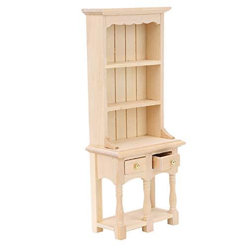 Evonecy Muebles de casa de muñecas, estantería de 3 Capas con decoración de Estudio en Miniatura de Madera con cajones estantería de casa de muñecas, Modelo de estantería para el hogar(Plain Embryo)