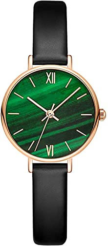 QHG Reloj de Pulsera para Mujer Pequeño Reloj de Esfera Verde analógica Impermeable con Cuero/cinturón de Acero Inoxidable (Color : Black Band)