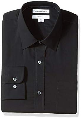 "Amazon Essentials Men's Slim-Fit Wrinkle-Resistant Long-Sleeve Dress Shirt, Black, 14.5"" Neck 32""-33"" by Amazon Essentials"