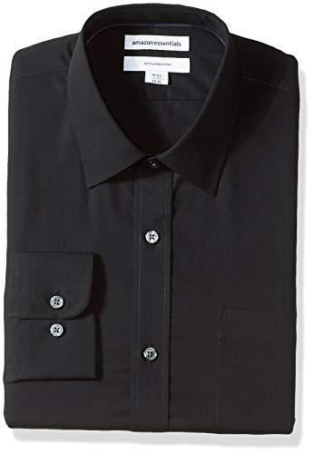 Amazon Essentials Slim-fit Wrinkle-resistant Long-sleeve Solid Dress Shirt Smoking Hemd, Schwarz (Black), 16.5