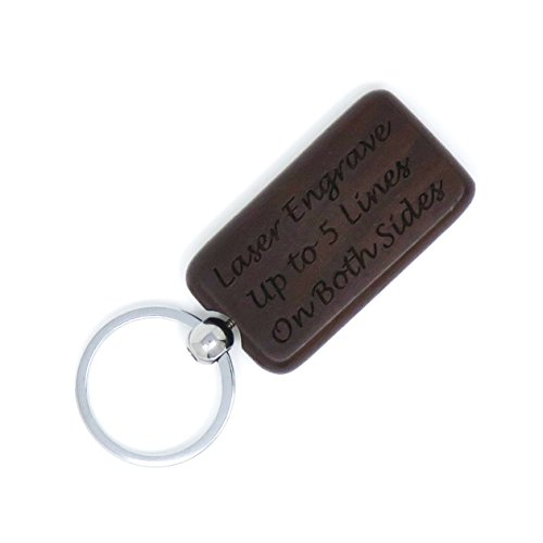Custom Engraved Rectangle Key Chain - Key Ring - Wood - Front & Back Engraved - Personalized (Walnut)
