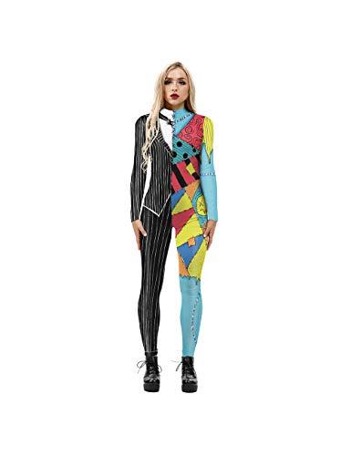 Leezeshaw Traje de Halloween para mujer, de la pesadilla antes de Navidad, disfraz de Halloween 3D Jack y Sally Lycra Unitard, disfraz para mujer S-XL