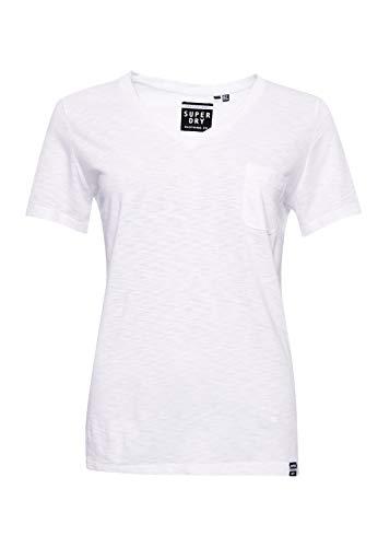 Superdry Damen OL ESSENTIAL VEE TEE T-Shirt, Weiß (White 04C), XL (Herstellergröße:16)