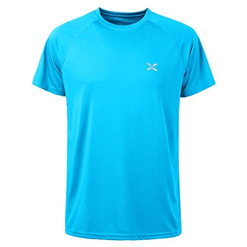 Short Sleeve T-Shirts for Men,Outdoor UPF 50+ Sun UV Protection Dri-fit Workout-and-Training Tshirts,Rash Guard Hiking Running Fishing Shirts for Men(Blue,XXL)