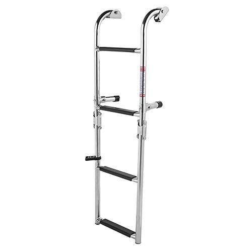 Pontón de Acero Inoxidable de 4 peldaños, Escalera Plegable de Dos peldaños, pontón - Dimensión Completa 34.3x10in