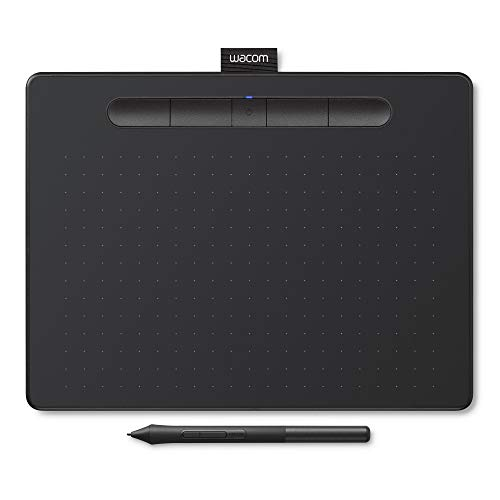 Wacom Intuos M - Tableta Gráfica Bluetooth para Pintar, Dibujar y editar Photos con 3 softwares creativos incluidos para descargar, Windows & Mac, óptima para Oficina en casa y e-Learning, Negra