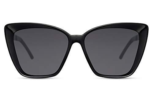 Cheapass Sonnenbrillen Groß Cateye Schmetterling Trendy Schwarz Damen Style mit dunklen Gläsern und hochwertigen schwarzen Metallbügeln UV400 geschützt