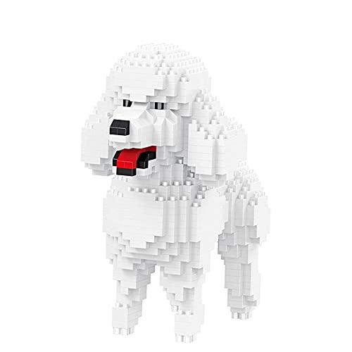 Dibujos Animados de Dibujos Animados Pet Juguete Ladrillos, caniche Blanco 3D DIY Mini Mini Bloque Micro Diamond Brick Children Navidad Cumpleaños Juguete