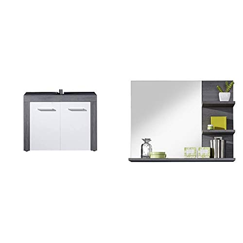 trendteam smart living Mobili, Legno, Bianco, 72 x 56 x 34 cm & Furnline 1259-401-21 Miami-Specchio da bagno con mensola, in melamina, colore: argento cenere