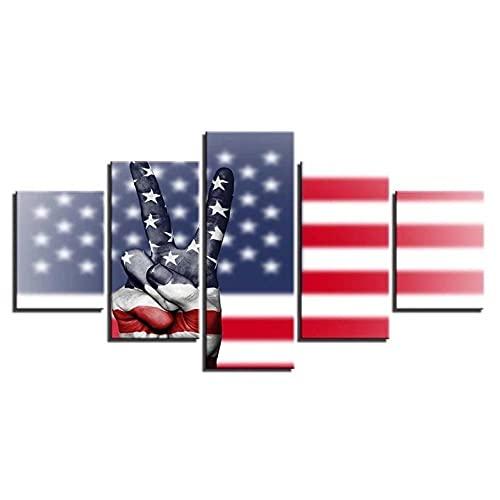 GUANGXING Kunstdruck Auf Leinwand Amerikanische Flagge Und Sieg-Handgeste 5 Stück Wanddekor Design Wand Bild 5 TLG Kunstdruck Modern Wandbilder XXL Vlies Leinwand Wohnzimmer Wohnkultur Gerahmte