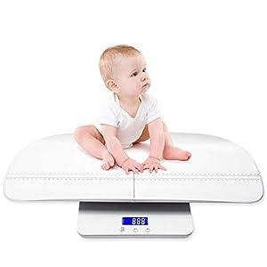 Báscula Digital para Bebé, Báscula para Niños Multifunción, con Bandeja de Altura, Función de Retención, Luz de Fondo Azul, Báscula 2 en 1 para Recién Nacido/Niños Pequeños/Adultos