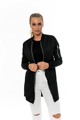GWELL Klassische Damen Lange Bomberjacke Übergangsjacke Reißverschluss Jacke für Herbst Frühling schwarz S