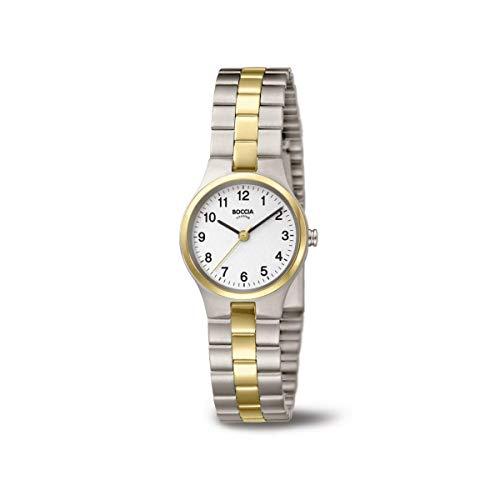 Boccia Damen Analog Quarz Uhr mit Titan Armband 3082-05