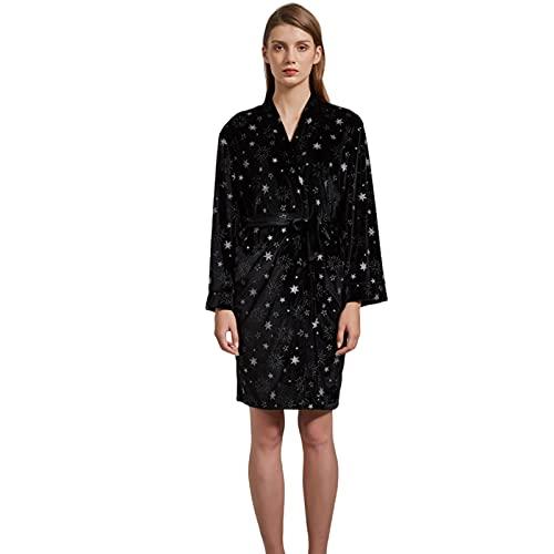 Pijamas para Mujer de Terciopelo Estrellado de Talla Grande Pijamas Casuales de Engrosamiento otoño e Invierno Ropa para el hogar,Negro,XL