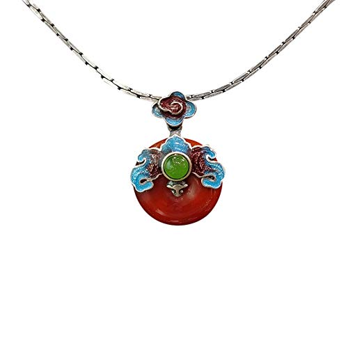 Anhänger Halskette 925 Silber Damen mit Jade - Chinesischer Vintage Schmuck 100% Handarbeit aus Hotan mit Echtheitszertifikat 104-LT101V2-40cm
