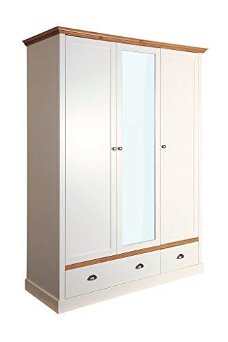 Steens Sandringham Kleiderschrank, 3 Türen, 2 Schubladen, 148 x 192 x 58 cm (B/H/T), teilmassiv, weiß