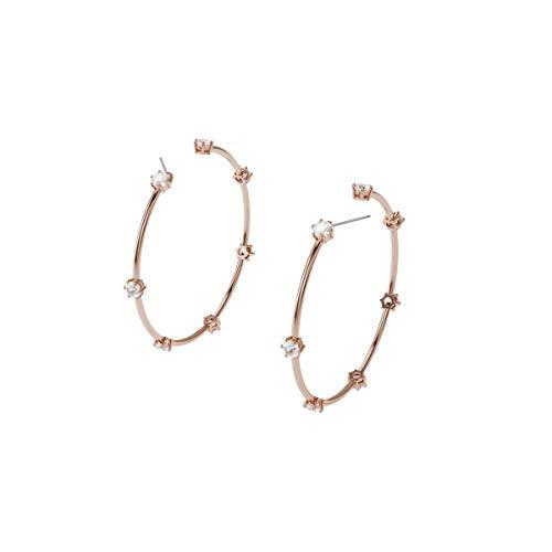 Swarovski Pendientes de aro Constella, Blanco, Baño tono oro rosa