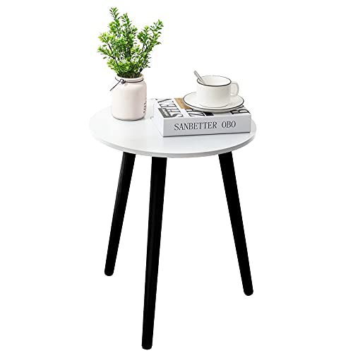 Apicizon Round Side Table, White Nightstand Coffee End Table for Living Room,...