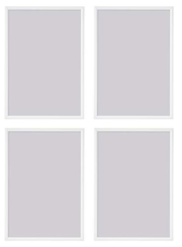 Ikea - YLLEVAD - Juego de 4 marcos de fotos ligeros (21 x 30 cm, plástico y cartón, tamaño A4), color blanco