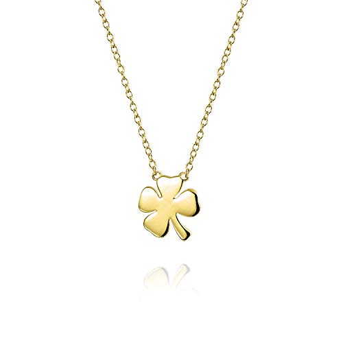 Bling Jewelry Personalized Flat Lucky Four Leaf Clover Shamrock Irish Pendant Women Necklace Polished 14K Yellow Gold Plated .925 Sterling Silver Custom Engraved