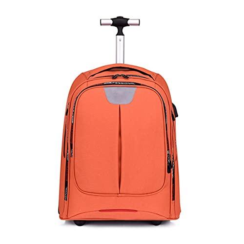 Mochila Escolar con Trolley de 2 Ruedas Alta Capacidad Mochilas Escolares conUSB Equipaje de Viaje Durable para Universidad/Hombres/Mujeres (Color : Orange, Size : 48 * 32 * 26cm)