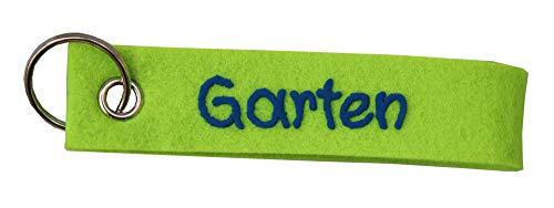 Schlüsselanhänger Apfel- grün aus Filz Spruch Garten personalisiert - Geschenk mit Wunschbeschriftung - Filzband mit Name