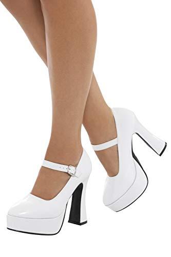 Smiffys 43075M - Damen 70er Jahre Plateau Schuhe, weiß, EU 38