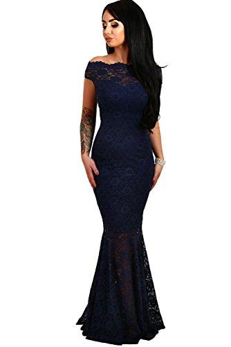 Vestido Mujer Largo - Elegante para Ceremonia y Eventos, Novia o Dama de Honor - para Fiesta Discoteca Moda Baile Model 3 Azul XL