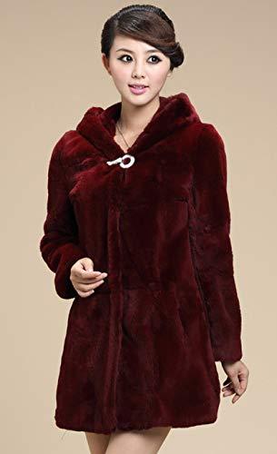 YRFDM Warmer Mantelm,Herbst und Winter Damen Mantel Lady Hooded Mittellanger Mantel Plus Size Allgleiches warmes Sakko, Weinrot, XL