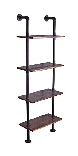 WGX Design For You Industrial 6-Tiers Modern Ladder Shelf Bookcase ,Wood Storage Shelf,Display Shelving, Wall Mounted Wood Shelves, Metal Wood Shelves Bookshelf Vintage Wrought Iron Finish
