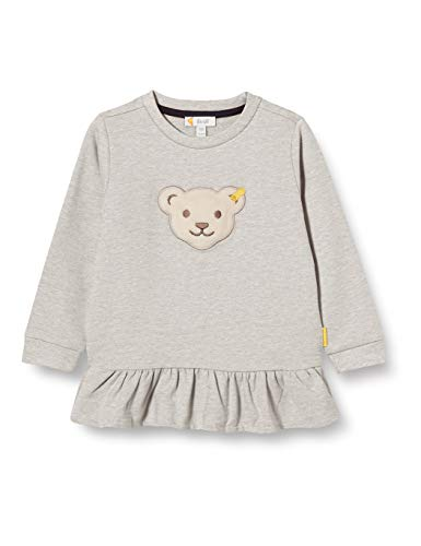 Steiff Mädchen mit süßer Teddybärapplikation Sweatshirt, Soft Grey Melange, 092