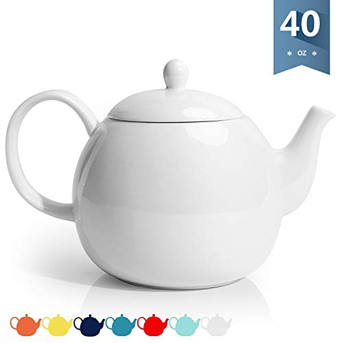 Sweese 220101 Porcelain Teapot 40 Ounce Tea Pot  Large Enough for 5 Cups White