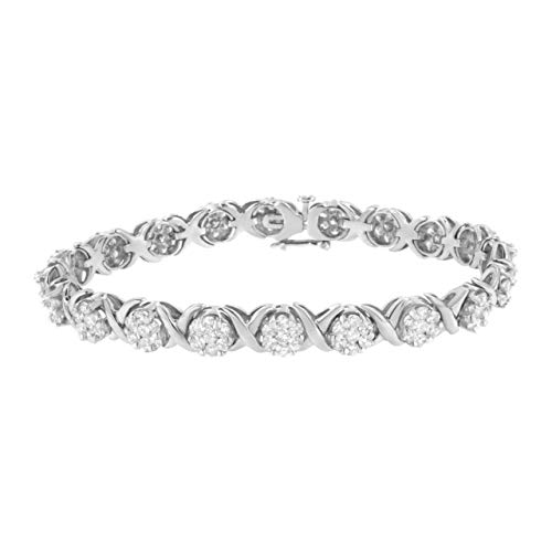 14K White Gold 6 1/3 cttw Diamond Cluster X-Link Bracelet (I-J Clarity, SI2-I1 Color) - Size 7'