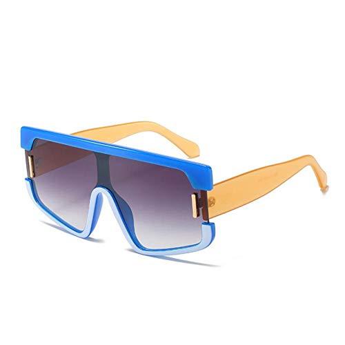 ZZOW Gafas De Sol Cuadradas De Gran Tamaño De Una Pieza A La Moda para Mujer, Diseñador De Marca, Gafas De Sol con Degradado Vintage para Hombre, Uv400, Grandes Sombras