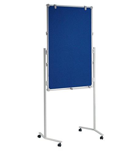 MAUL Moderationstafel Filz, Whiteboard, Flipchart, Pinnwand mit Rollen, 120 x 75 cm, Blau, Weiß 1 Stück