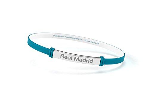 Pulsera Real Madrid Club de Fútbol Fashion Turquesa Junior para Mujer y Niño. Pulsera de silicona y acero inoxidable. Producto Oficial.