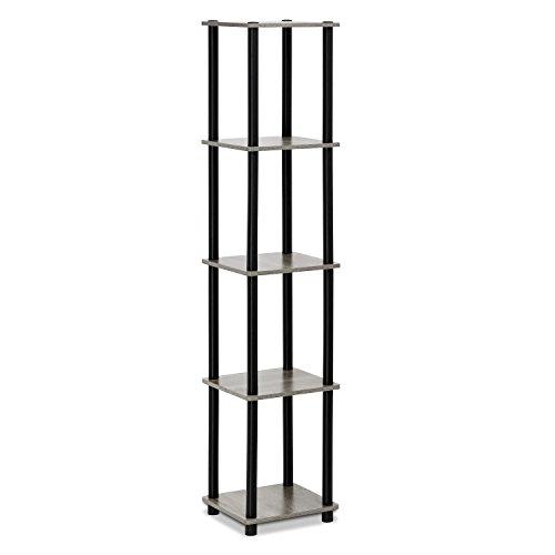 FURINNO Turn-N-Tube 5-Tier Corner Square Rack Display Shelf, Round, French Oak Grey/Black