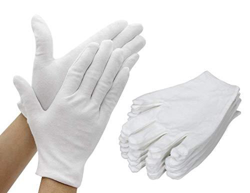 12 Paar (24 Handschuhe) Weiße Baumwollhandschuhe Dicker und wiederverwendbarer Soft Works-Handschuh 8,6 Zoll für die Prüfung von Münzschmuck in Silber - Mittel