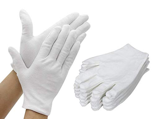 TooTaci 12 Paar (24 Handschuhe) Weiße Baumwollhandschuhe Dickerer und wiederverwendbarer Soft Works-Handschuh 6,7 Zoll für Münzschmuck Silber Inspektion klein (für Kinder geeignet)