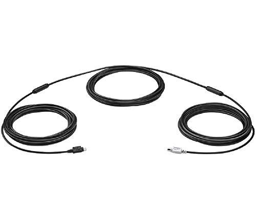 Logitech Group Verlängerungskabel, Mini-DIN-6 Verbindung, Für Videokonferenzen in größeren Räumen, 15 m Länge, 5 mm Kabeldicke, Kompatibel mit Group Webcams - Schwarz