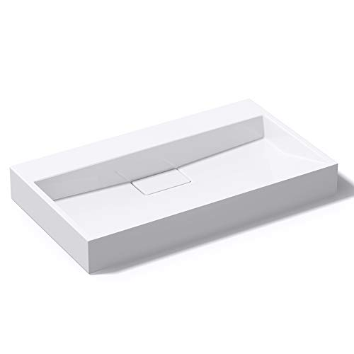Mai & Mai Lavabo Blanco 80x46x13cm Lavabo Rectangular sin Orificio para Grifo Lavabo Sobre Encimera Lavabo Colgante Col19-800OA