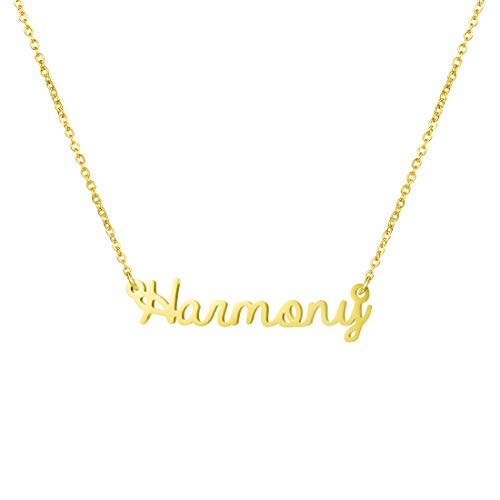 Awegift Name Necklace Big Initial Gold Plated Best Friend Jewelry Girls Women Gift for Her Harmony