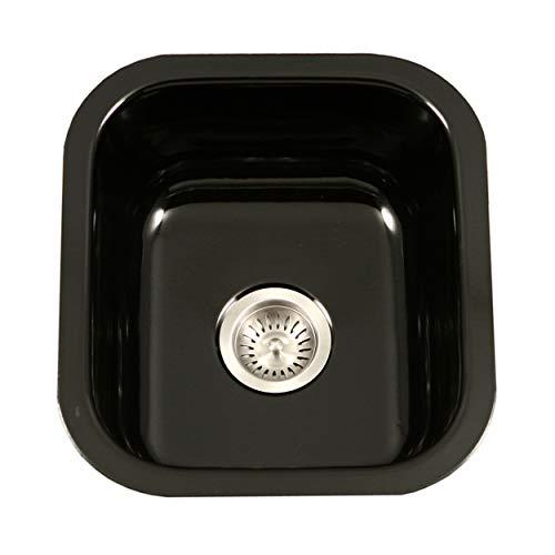 Houzer PCB-1750 BL Porcela Series Porcelain Enamel Steel Undermount Bar/Prep Sink, Black