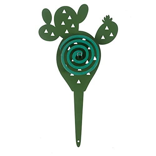 Baroni Home Porta Zampirone in Metallo Portazampirone da Interno o da Esterno da Interrare in Vasi o nel Giardino Fantasia Cactus Colore Verde Misure 20X0.2X36 cm