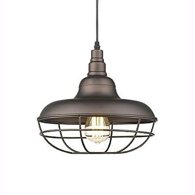 "Emliviar Industrial Metal Cage Pendant Light, 12"" Vintage Barn Light Farmhouse Lamp Shade Hanging Light, Oil Rubbed Bronze, 50007-MP"