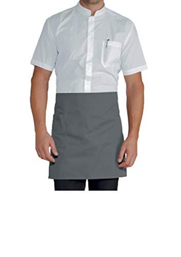 Delantal de cocinero corto – gris – Uniforme de trabajo unisex para barbacoa, restaurante, camarero, casa, bar, chef, pizzería, pizzería – Delantal personalizable